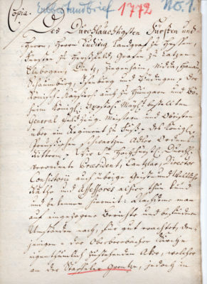 Erbleihbrief 1772, Seite 1